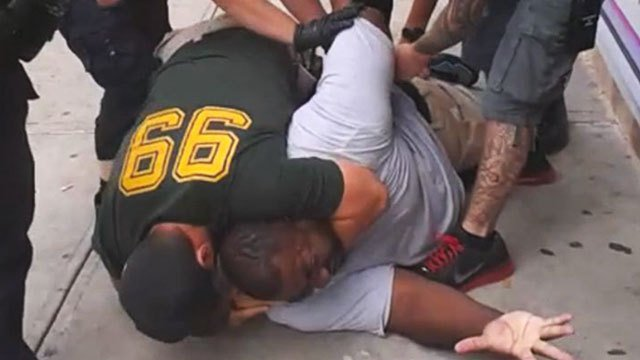 Cellphone video screenshot (YouTube), Eric Garner chokehold by NYPD officer Daniel Pantaleo, 7-15-14
