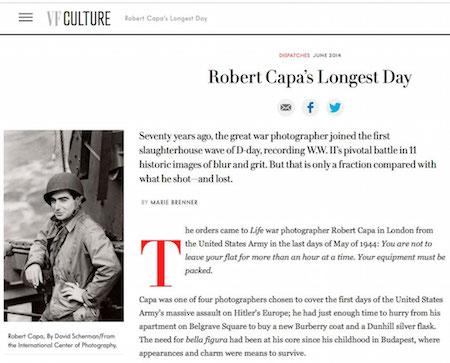 "Marie Brenner, ""Robert Capa's Longest Day,"" Vanity Fair, June 2014"
