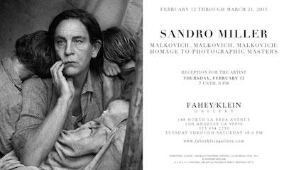 Fahey-Klein Gallery, Sandro Miller-John Malkovich exhibition, invitation card, 2015