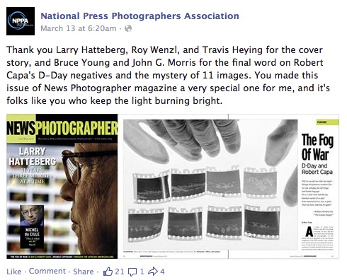 Donald Winslow, NPPA, announcement of Jan-Feb 2015 issue of News Photographer, Facebook, 3-13-15