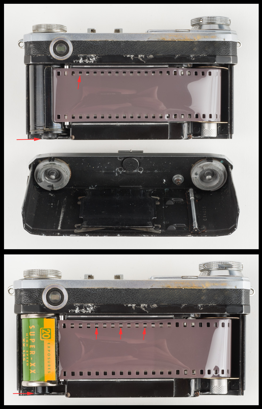Comparison of Zeiss Ikon cassette with misaligned Kodak cassette. (Note red arrows in bottom photo, pointing to where incoming light from the lens would expose the bottom edge of the top sprocket holes.) Photos © 2015 by Rob McElroy.