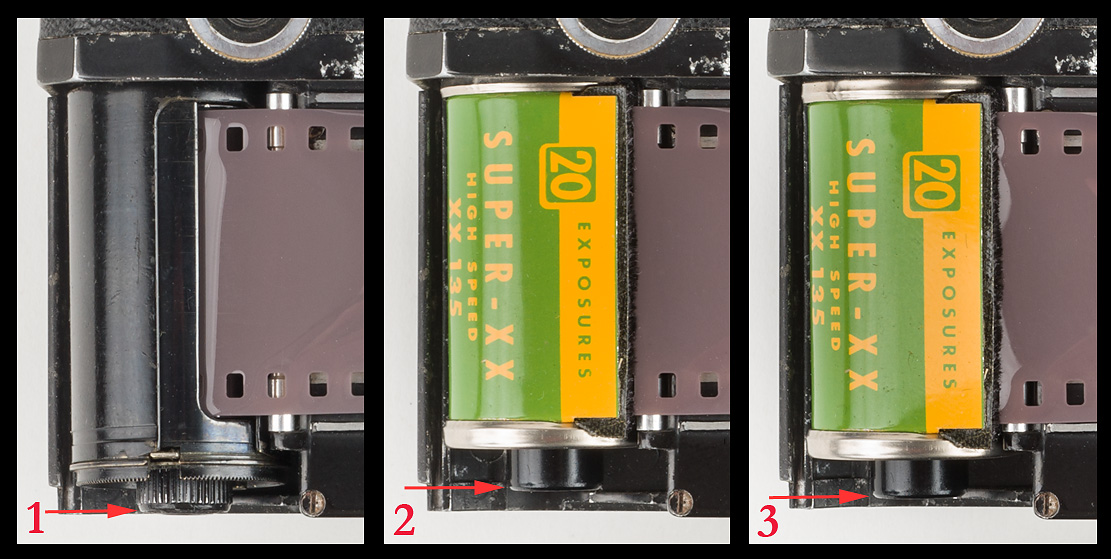 Photo 1 shows Zeiss Ikon cassette loaded in the camera and ready to be supported by the camera's baseplate. Photo 2 shows shorter Kodak cassette loaded in the camera but unable to be supported by the baseplate of the camera. Photo 3 shows shorter Kodak cassette after it has slipped slightly toward the baseplate, causing the sprocket-hole misalignment. (Note red arrows that compare the height of the different cassettes.) Photos © 2015 by Rob McElroy.