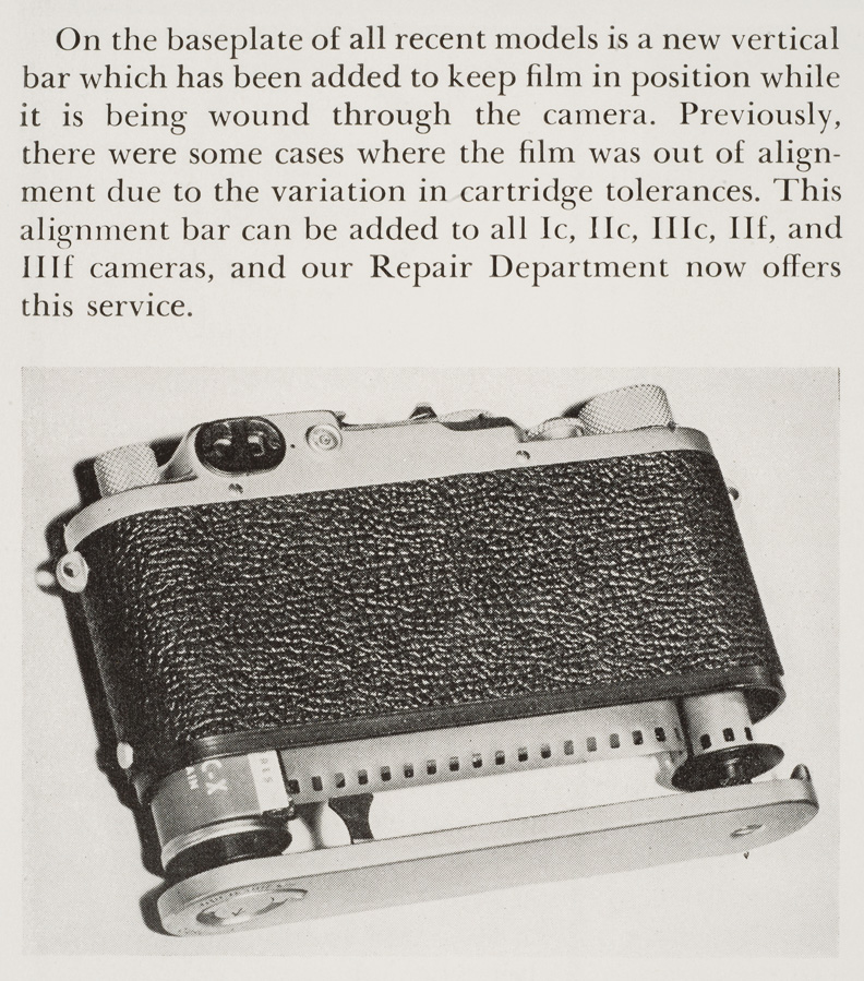 Leica Photography, Winter 1952, Vol. 5, No. 4, p. 27, with information about baseplate.