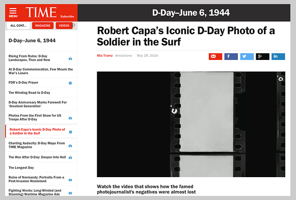 One of the nine faked negatives in TIME's 2014 documentary video on Capa (screenshot).