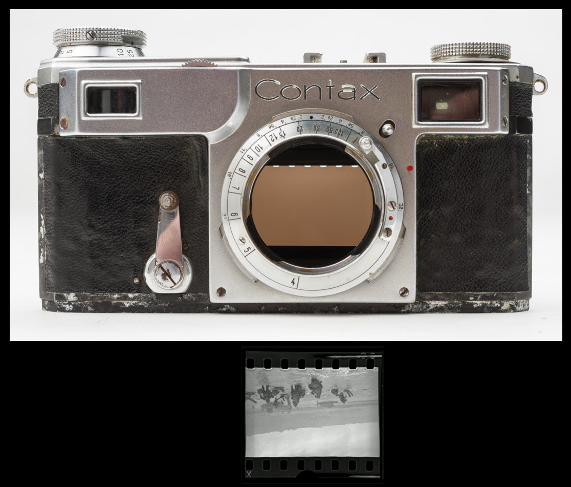 Top: Contax camera loaded with shorter Kodak cassette showing sprocket holes being exposed. Bottom: Capa negative shown with proper orientation as it would have appeared in the camera. Note exposed sprocket holes. Top photo © 2015 by Rob McElroy.