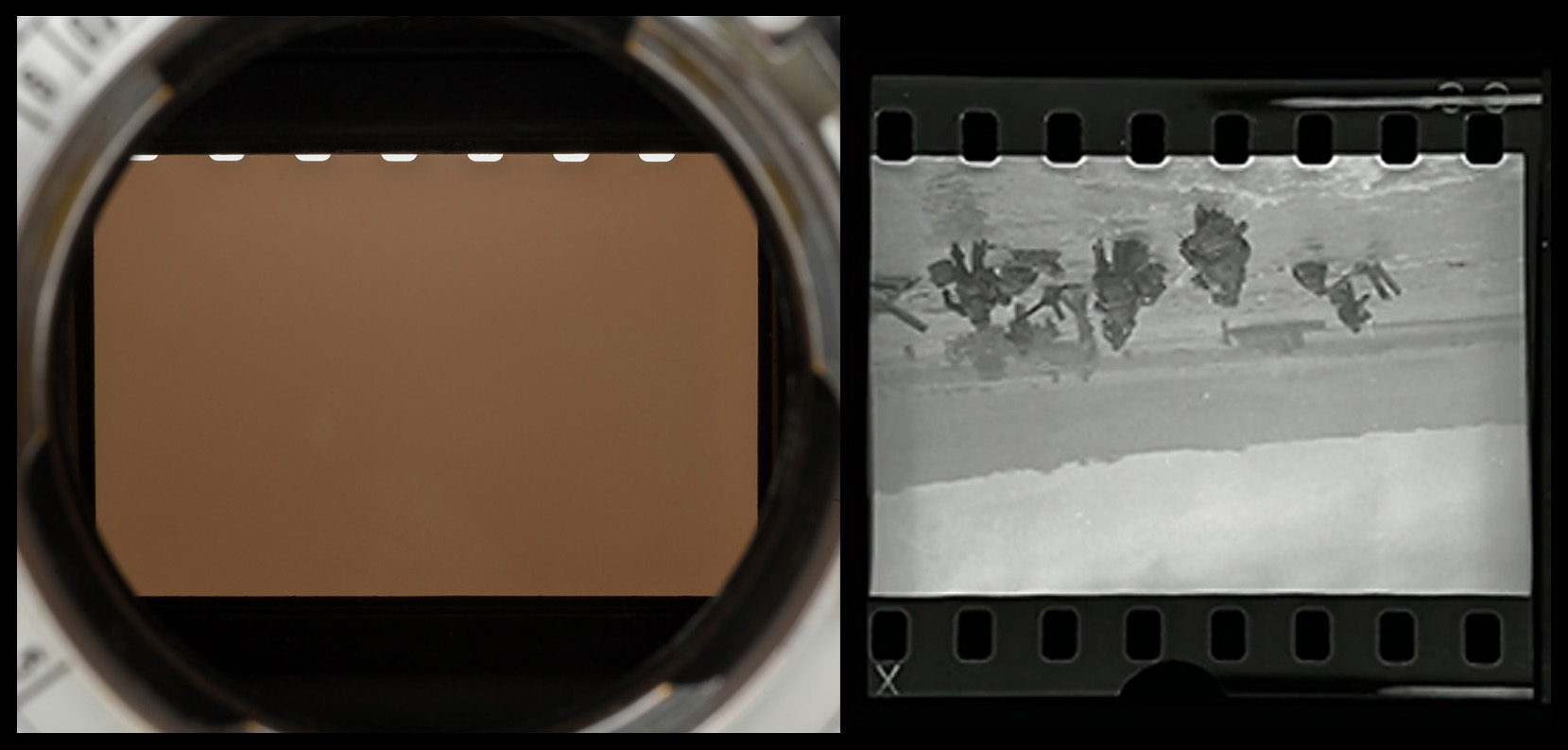 Close-ups showing sprocket-hole exposure getting larger near the right side of the images. Photos © 2015 by Rob McElroy.