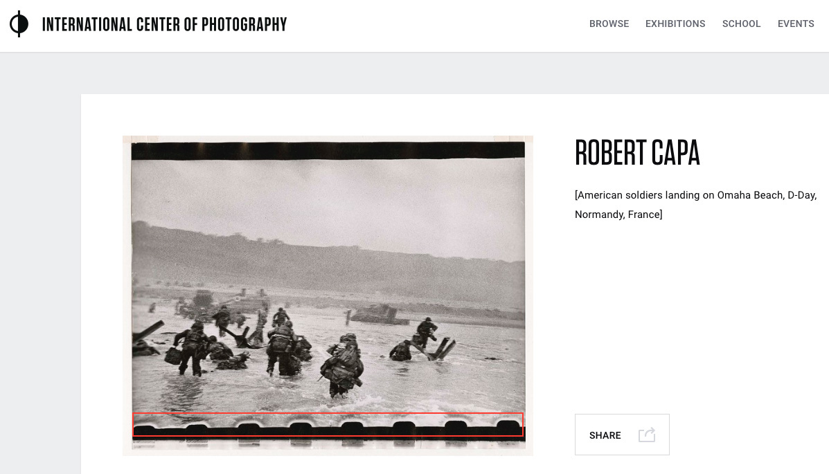Screen shot of Capa D-Day contact print from ICP website, showing sprocket-hole intrusion (indicated in red).