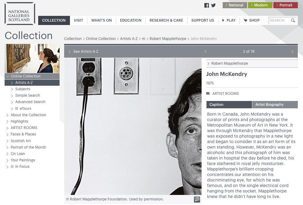 John McKendry, deathbed portrait by Robert Mapplethorpe (1975). Screenshot, National Galleries of Scotland website.
