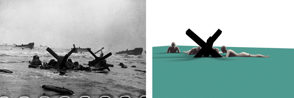 Robert Capa, D-Day negative 35, detail (l) and computer-generated model (r). Illustration © 2015 by Charles Herrick.