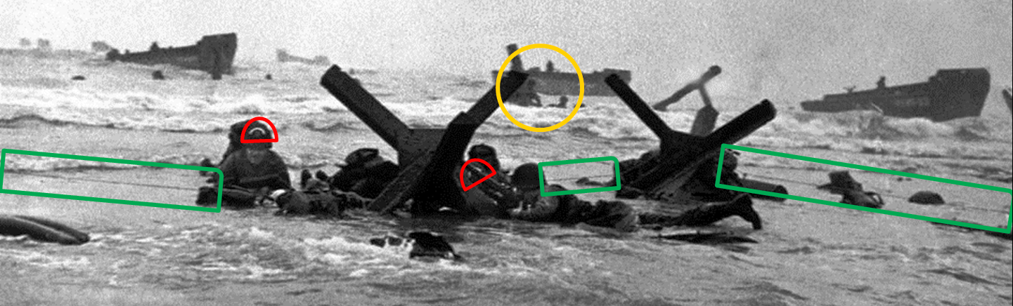 Robert Capa, D-Day negative 35, detail, annotated