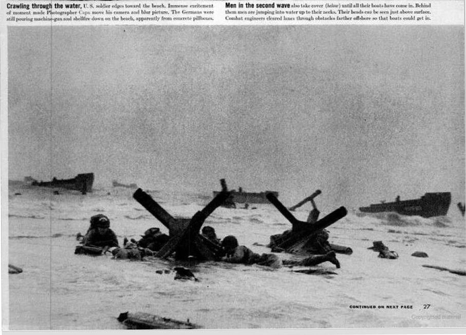 "Robert Capa, detail from ""Beachheads of Normandy,"" LIFE magazine, June 19, 1944, p. 27."