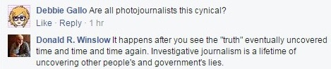Donald R. Winslow defines investigative journalism, Facebook comment, May 11, 2015 (detail)