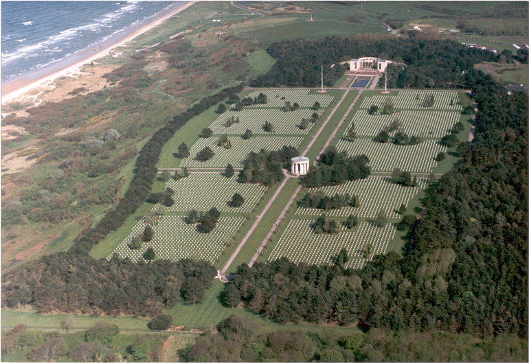 American Cemetery, Normandy, France, aerial view