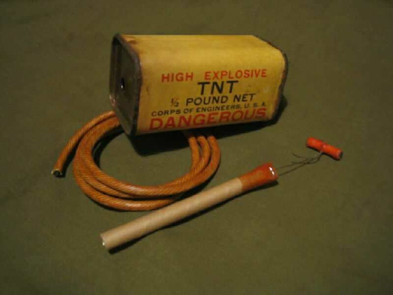 U.S. Army demolition kit with TNT, Primacord, pull-fuse-lighter