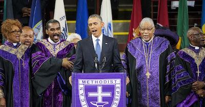 Pres. Barack Obama, Charleston eulogy, 6-26-15, screenshot