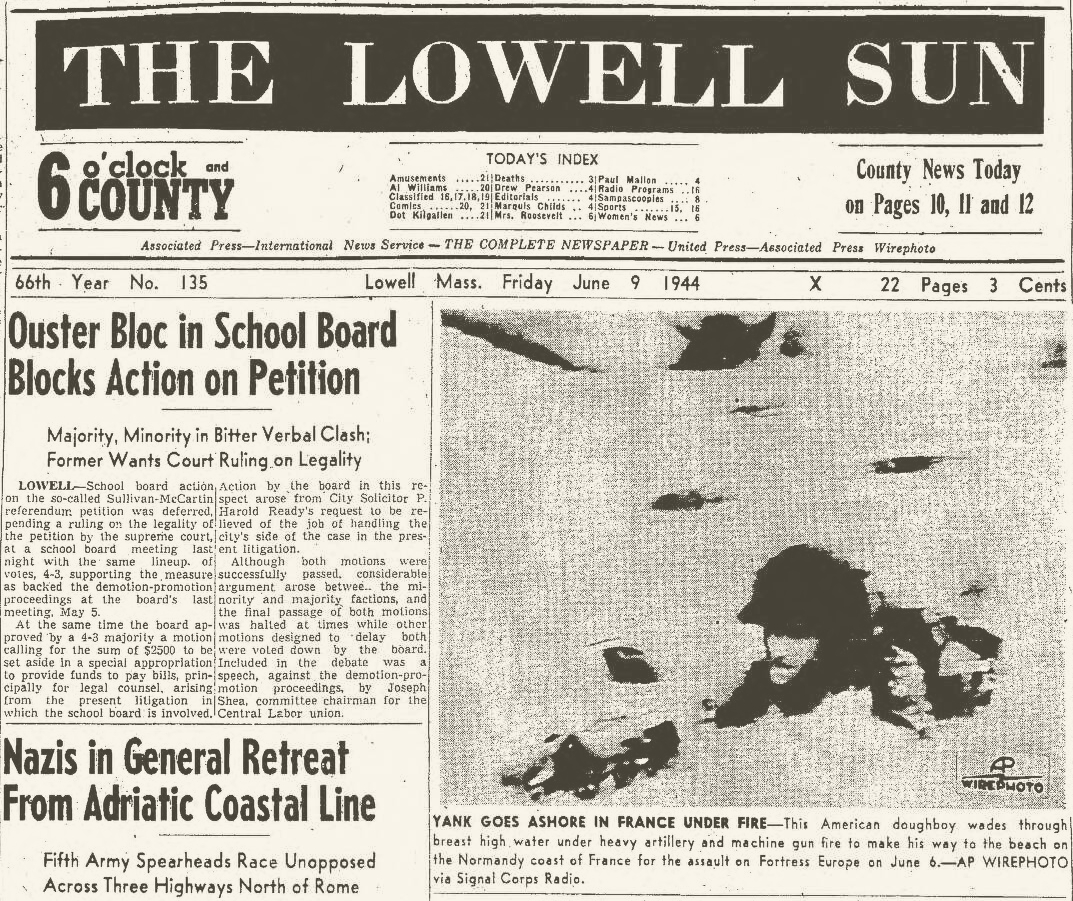 The Lowell Sun (Lowell, Massachusetts), June 9, 1944, 6 o'clock and County Edition, front page