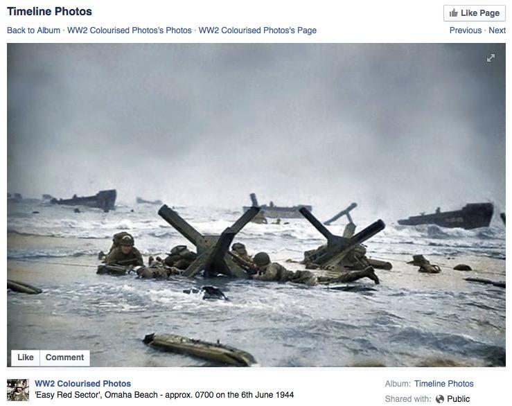 "Robert Capa, Omaha Beach exposure 7/negative 35, June 6, 1944, ""colourised"" by Timeline Photos. Facebook screenshot 7-21-15."