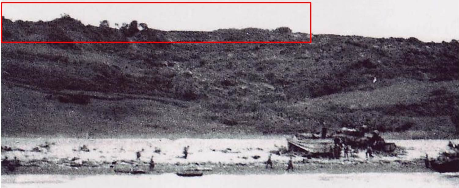 Figure 1. The LCI's view of the bluffs before it beached. Area outlined in red is the skyline visible in Figure 2.