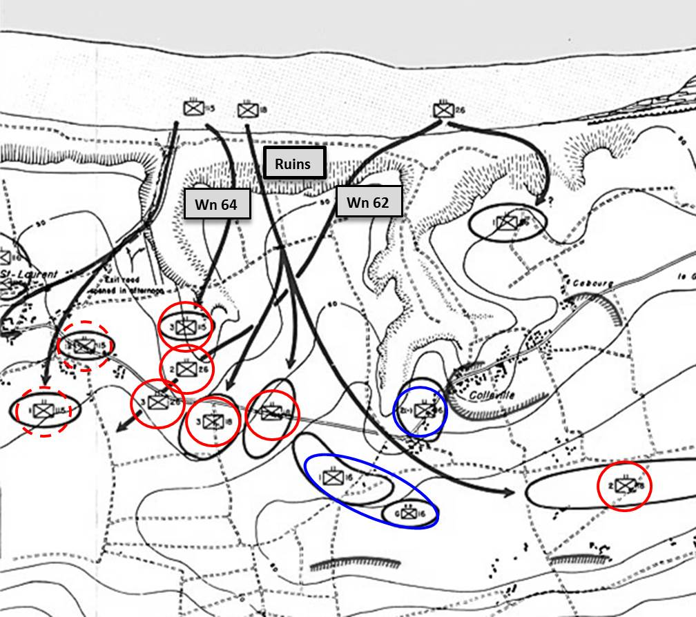 Figure 7. The Torrent through the Seam. Circled in blue are the first two battalions of the 16th RCT that passed inland between Wn 62 and 64. Later on D-Day three follow-on regiments landed, the 18th, 26th and 115th. Of their 9 battalions, six (circled in solid red) followed through the seam behind the ruins. Two more (circled in dashed red) were able to pass through the E-1 draw largely due to LT Spalding's penetration at the seam and attack on WN 64 from the rear.