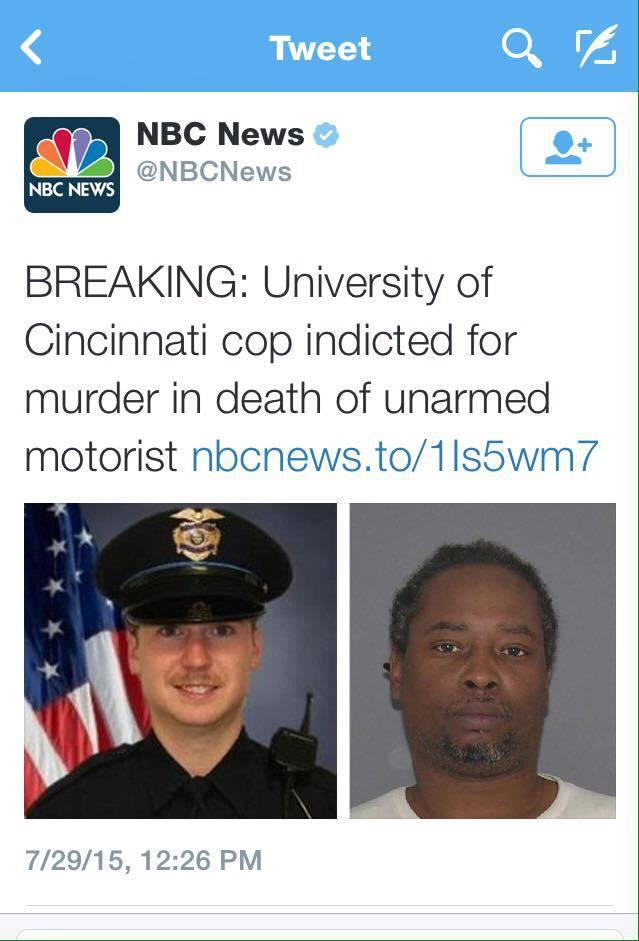 Ray Tensing (l), Samuel DuBose (r), NBC News tweet July 29, 2015, screenshot