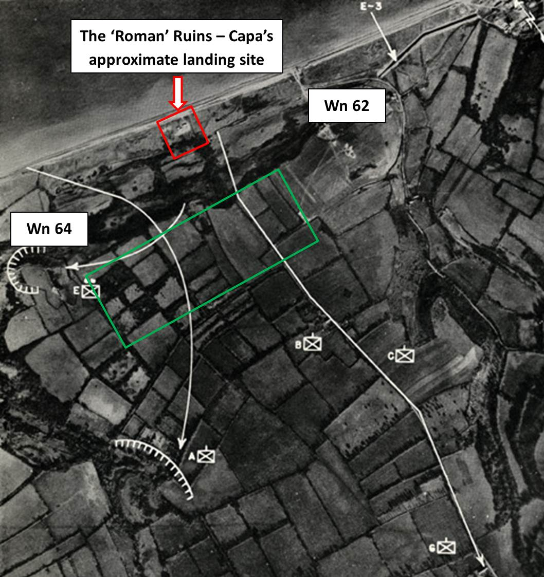 Figure 5. The Ruins on Easy Red in relation to Wn 62 and Wn 64. The routes of Lt. Spalding's boat section and Cos. G, C and B past the ruins and up the bluffs are shown. The green box is the current location of the U.S. Military Cemetery in Normandy.