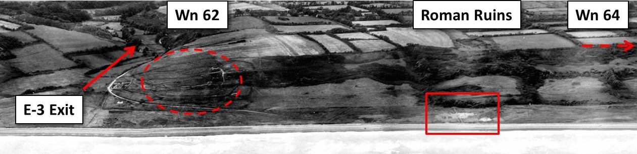 "Figure 8. Annotated detail of panoramic montage of aerial photos taken 30 June 1943, showing the location of the ""Roman Ruins"" in relation to the nearest German strongpoints. The draw at the E-3 Exit leads to Colleville. The path to the top of the bluffs that LT Spalding's section and Co. G took began at the left (east) side of the ruins. (Original montage created by Thierry Nicolle.)"