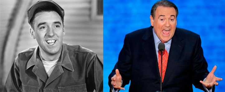 Separated at birth? Gomer Pyle (l) and Mike Huckabee (r)