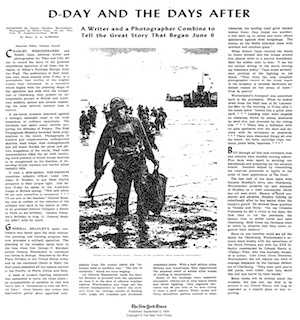 Wertenbaker and Capa, New York Times Book Review, front page, 9-3-44