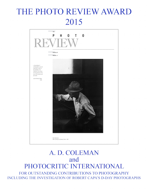 Photo Review Award to A. D. Coleman, 2015
