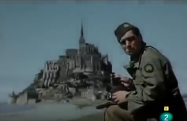 Robert Capa, Mont St. Michel,France, July 1944, screenshot from Patrick Jeudy's film