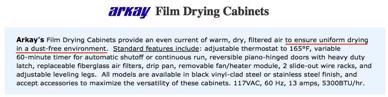 Arkay Film Drying Cabinets, product description