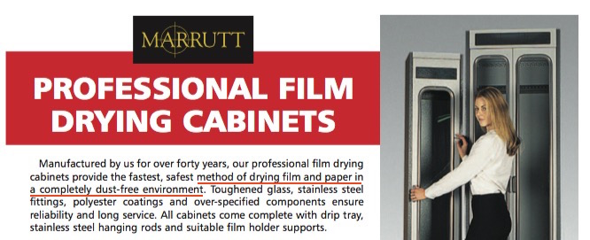 Marrutt Professional Film Drying cabinets, promotional brochure (detail)