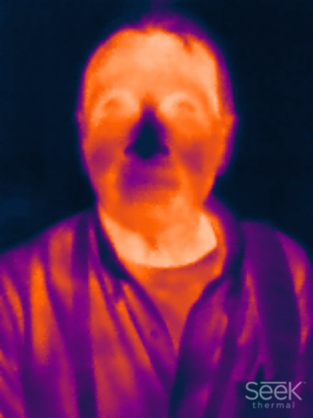 Portrait of A. D. Coleman, Seek Thermal Image app, Brent_LaSala, 6-24-15