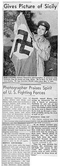 Bob Landry, L.A. Examiner story, Fall 1943