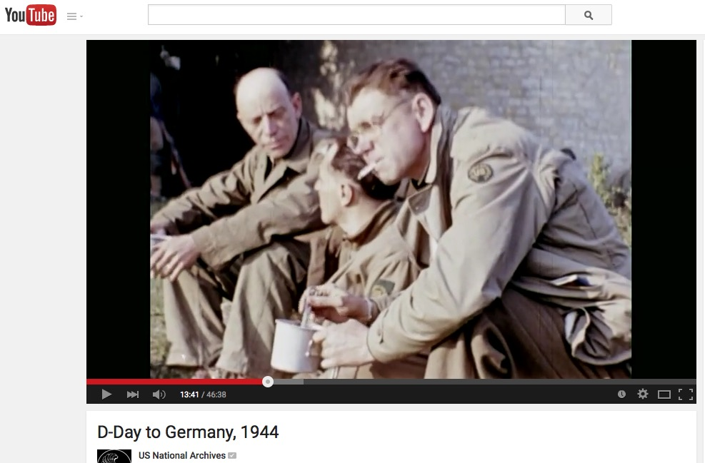 Bob_Landry (r), seen in Jack Lieb's D-Day film, screenshot 1