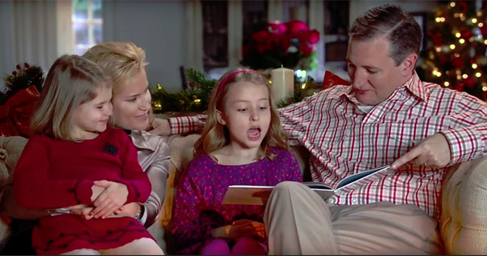 "Ted Cruz campaign ad, ""Cruz Christmas Classics,"" December 2015, screenshot"