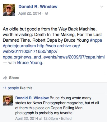 Donald Winslow, Facebook post, April 22, 2014