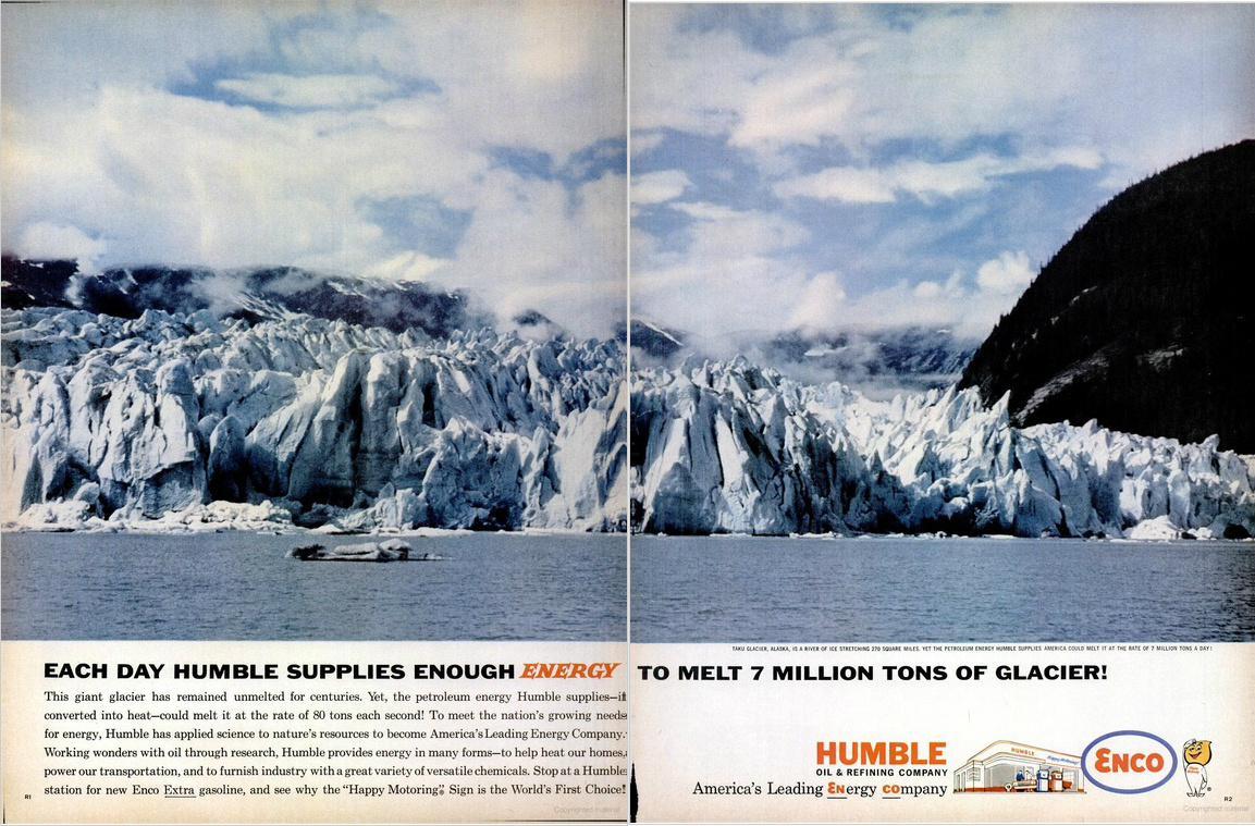 Humble / Enco ad, Taku Glacier, Alaska, from LIFE, February 2, 1962, pp. R1-R2