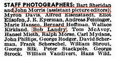 LIFE masthead, John Morris and Bob Landry, June 19, 1944