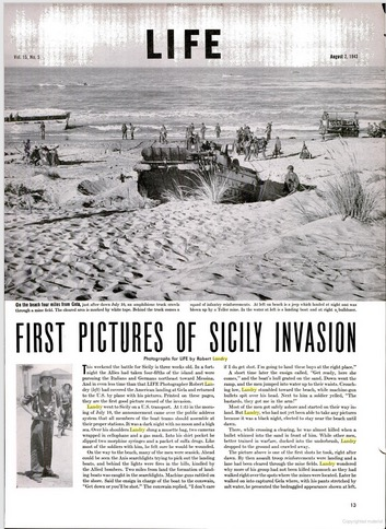 "Bob Landry, ""First Pictures of Sicily Invasion,"" LIFE, August 2, 1943"