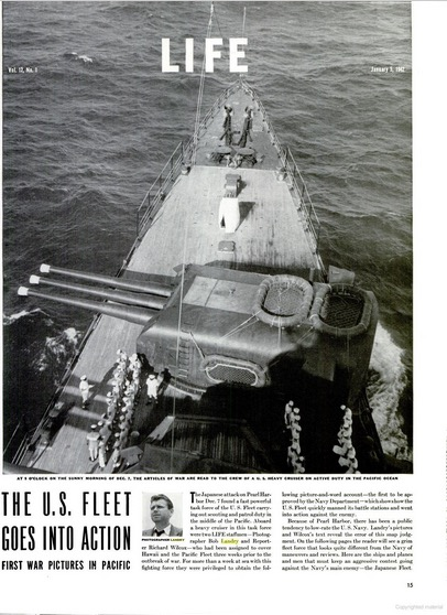 "Bob Landry, ""The U.S. Fleet Goes into Action,"" LIFE, January 5, 1942, p. 15"
