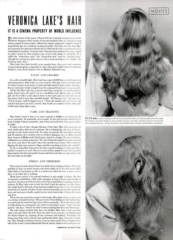 "Bob Landry, ""Veronica Lake's Hair,"" LIFE, 11-24-41"