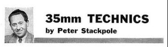 "Peter Stackpole, ""35mm Technics,"" U.S. Camera, August 1959, column logo"
