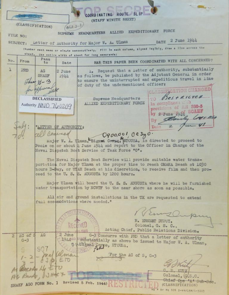 Maj. W. A. Ulman, D-Day orders