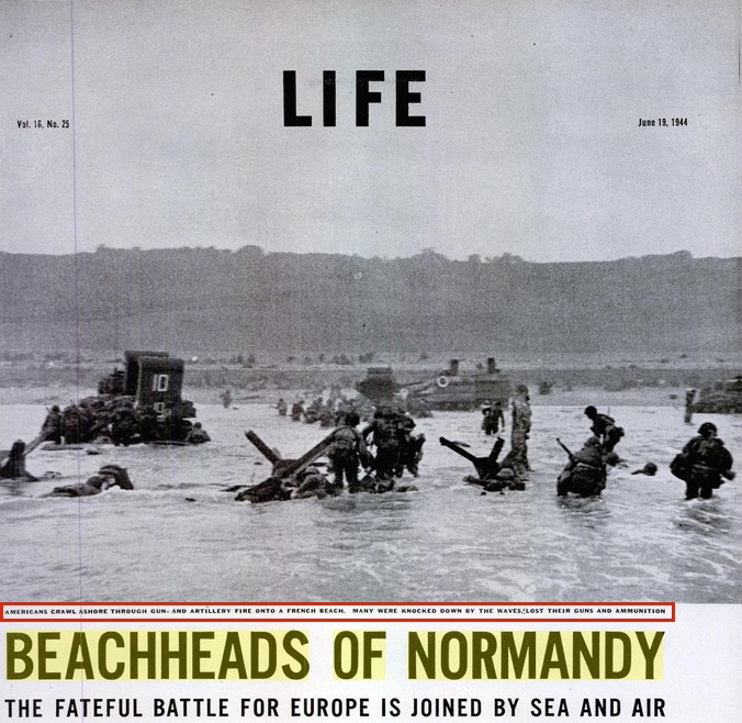 """""""Beachheads of Normandy,"""" LIFE magazine feature on D-Day with Robert Capa photos, June 19, 1944, p. 25 (detail)"""