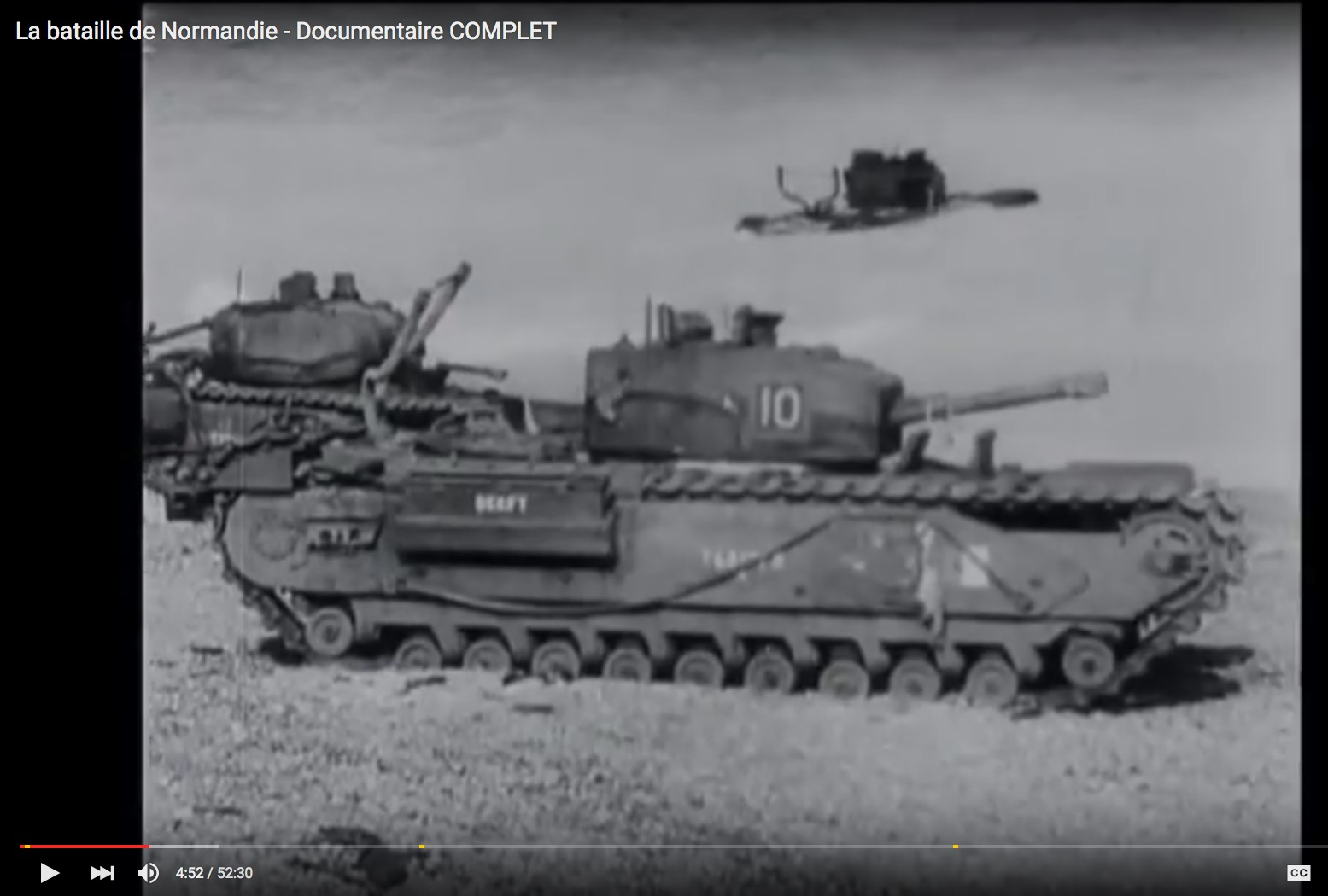 Amphibious Armored Vehicle 10 on Omaha Beach, June 6, 1944, still from D-Day movie footage