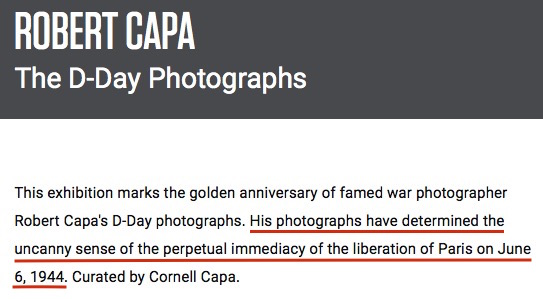 """Robert Capa: The D-Day Photographs,"" 1994 exhibition, ICP website screenshot"
