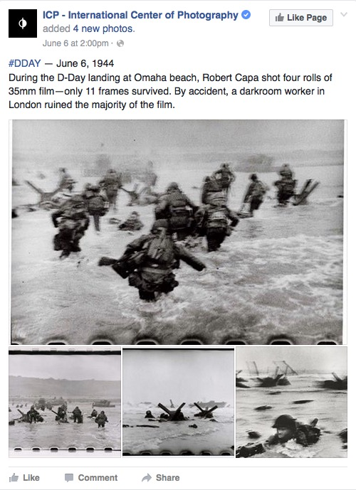 International Center of Photography Facebook post celebrating Robert Capa's D-Day photographs, June 6, 2016, screenshot