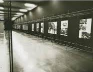"""Robert Capa, """"Menschen im Krieg,"""" installation at Kunstgewerbemuseum Zürich, 1961"""