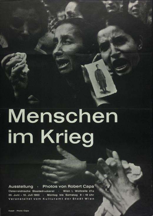 """Robert Capa, """"Menschen im Krieg,"""" exhibition poster, Vienna, 1963"""